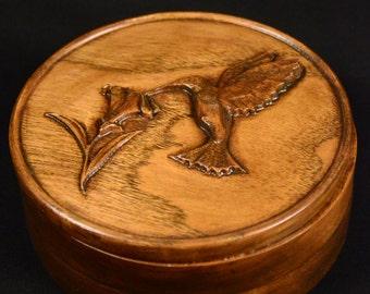 Carved Hummingbird Jewelry Box