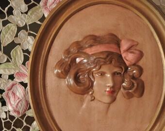Qty 2 Duncan Ceramics 1975 Cameo Vintage Lady Erma Gilliland, USA