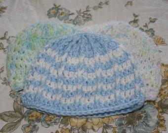 Newborn Crochet Ripple Beanies