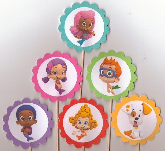 bubble guppies cake toppers items similar to guppy guppies cupcake toppers 2100