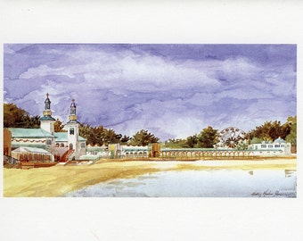 View of Playland from Beach Giclee Print