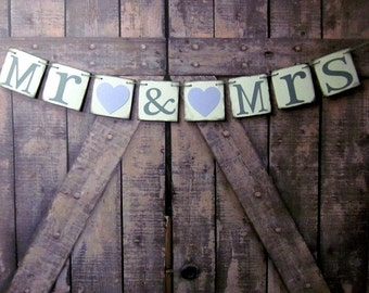 MR and MRS BANNERS - Wedding Signs - Sweetheart Table Rustic Decoration - Wedding Banner