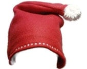 Santa Red Fleece Winter Hat for Baby, Toddler, Child with Fuzzy Pom Pom, Kids and Adults Santa Hat Christmas