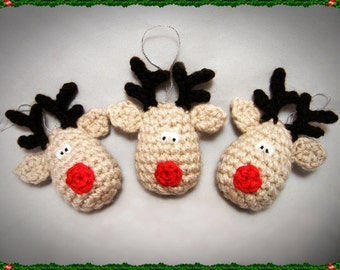 Crochet Rudolf Reindeer Christmas Decoration Pattern