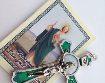 St Jude Crucifix all hand finished in Emerald tone Resin 3""""