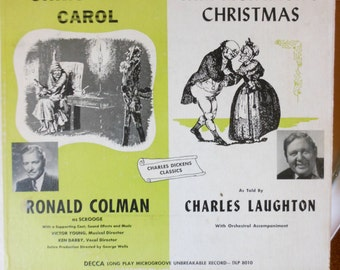 1950s Vintage of Dickens Classics A Christmas Carol and Mr. Pickwick's Christmas on LP