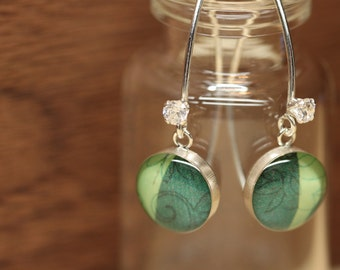 Starbucks Green Coffee Leaf earrings with sterling silver, resin and cubic zirconia. Made from recycled, upcycled  gift cards.