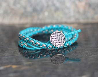 Rolo Chain and Leather Wrap Bracelet - Neon Blue with Antique Silver Chain