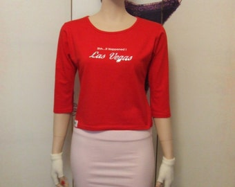 Womens red round neck scoop back tee flirt with Las Vegas Print on front