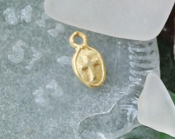 """Tiny Small 18k Vermeil Cross Charm Pendant, Gold Cross Tag , Matte Finish 1/2"""" CS801V"""