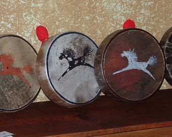 """10"""" Painted Spirit Pony Drum Kit w/ 4 Song CD & Mallet"""