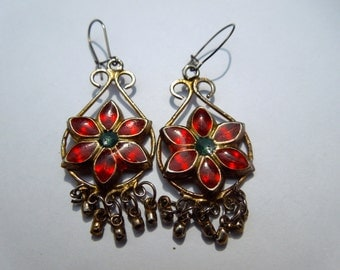 Vintage red flower drop earrings