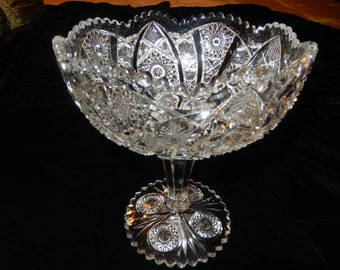 PRESSED GLASS COMPOTE