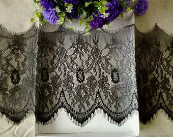 Black Chantilly Lace Trim Width 28C  French Style ON SALE