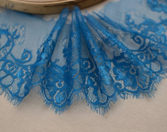 3.3 Yards Width 5.9''(15CM) Exquisite Freach Chantilly Eyelash Lace Trim Blue