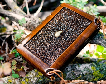 Unique handmade wedding guest book with carved matchwood cover /Serpentine rock / made to order