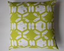 "Pillow cover -  Ty Pennington, chartreuse ""block""  print - fits a 20x20 pillow -100% Cotton"