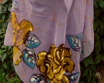 Natural silk shawl - floral, yellow rose, light violet hand painted scarf