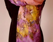 Natural silk poncho - wrap, pansy pink - purple painted wrap