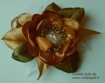 Handmade beige-brown satin flower brooch, flower clip & pin, embroidered flower