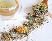 Handcrafted Raspberry tea Women's Balance, female hormone imbalance herbal blend, loose leaf energy boost (1.5oz/42g)