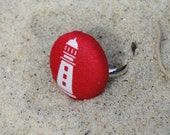 "Red & white adjustable fabric button lighthouse ring ""Harbour Light Ring"""