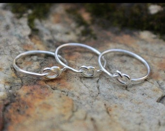 Love Knot Ring Set of 3 (three) Sterling Silver Bridesmaid Friendship Ring Celtic knot Argentium