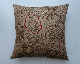 Throw Pillow cover in an elegant brown, beige and burgundy contemporary design.Same fabric on both sides.