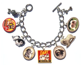 Handmade Havanese Dog Charm Bracelet Vintage Altered Art Label Pewter Charms
