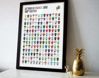 TdF 2013 - Edition 100 - The Finishers Poster Print - Le Tour de France 2013 - Illustrated Cycling Poster Art