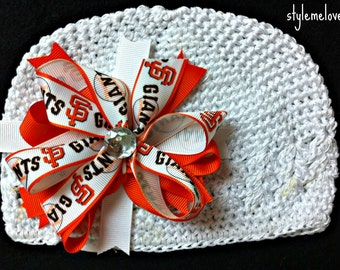 San Francisco Giants Baby Girl Boutique Bow Crocheted Hat