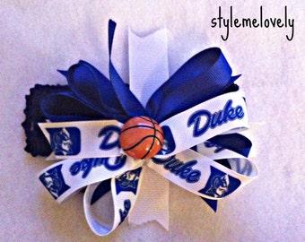 University of Duke Baby Girl Boutique Bow Crocheted Headband