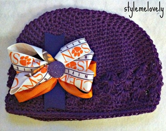 Clemson University Tigers Baby Girl Boutique Bow Crocheted Hat