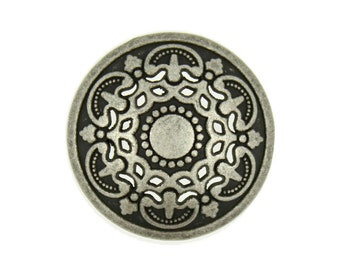 Metal Buttons - Antique Silver Medieval Filigree Domed Metal Shank Buttons - 25mm - 1 inch - 6 pcs
