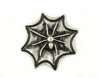 Metal Buttons - Spider and Web Metal Shank Buttons in Antique Silver Color - 19mm - 3/4 inch - 6 pcs
