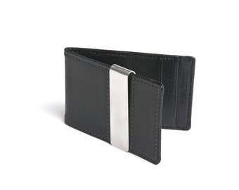 Men's Leather Money Clip Wallet - Black Wallet - 6 Colors Available - FREE Shipping - Gifts for Husband, Gifts for Men, Birthday Gift