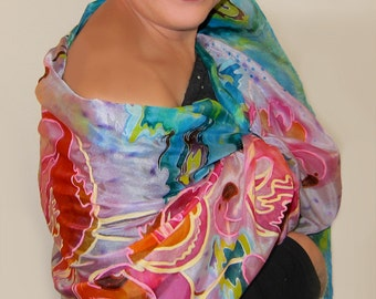 Hand Painted Silk Scarf Flamingo - Handpainted Silk Shawl - Animal and Bird Design - Silk Accessories - OOAK For Order