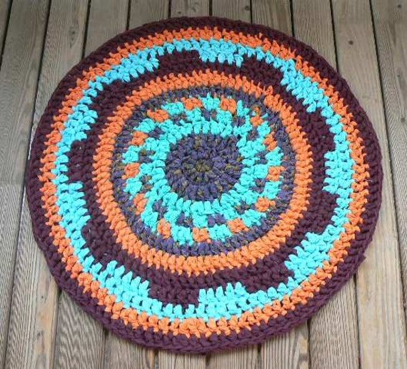 Orange Blue Coloured DIY Crochet Round Rag Rug Mat Carpet