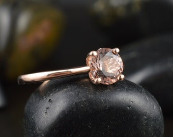 Emma Ruth - Morganite Engagement Ring in Rose Gold, Round Brilliant Cut, Classic Solitaire, Hidden Diamond Accents Under Head, Free Shipping