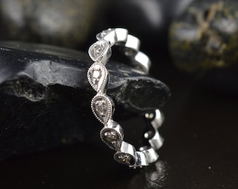 Diamond Eternity Band in White Gold, Round Brilliant Cut Stones in Pear Bezels with Beaded Milgrain, Stackable, Lucy A