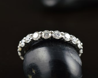 Camila - Diamond Eternity Band in White Gold, Round Brilliant Cut, Shared Prong Setting with Closed Baskets, 2.60mm, Classic, Free Shipping