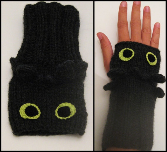 Knitting Pattern For Toothless Dragon : Toothless / How to Train Your Dragon Wrist Warmers by ...