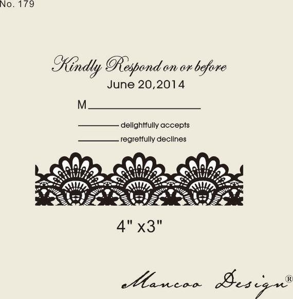 Custom Rubber Stamp 4x3 Wedding Invitation