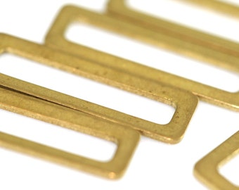 30 pcs Raw Brass 19X6 mm rectangle  connector Charms ,Findings R662-12