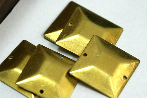 40 pcs 20x20 mm raw brass square tag two 2 hole raw brass connector Charms ,raw brass Findings 672R-58