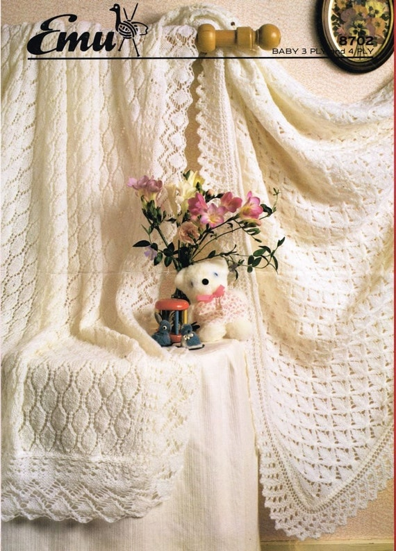Knitting Patterns For Christening Shawls : baby shawls christening vintage knitting pattern PDF instant