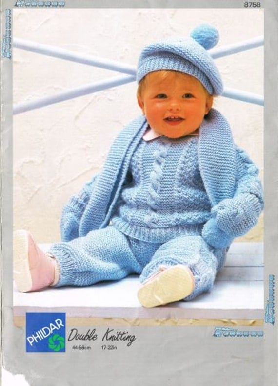 Knitting Patterns Phildar : Phildar 8758 baby pram suit vintage knitting pattern PDF instant downlaod