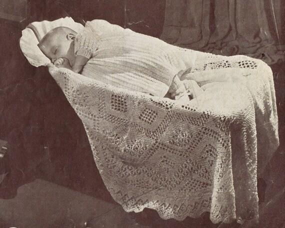 VCP111 intricate shetland lace baby shawl vintage knitting