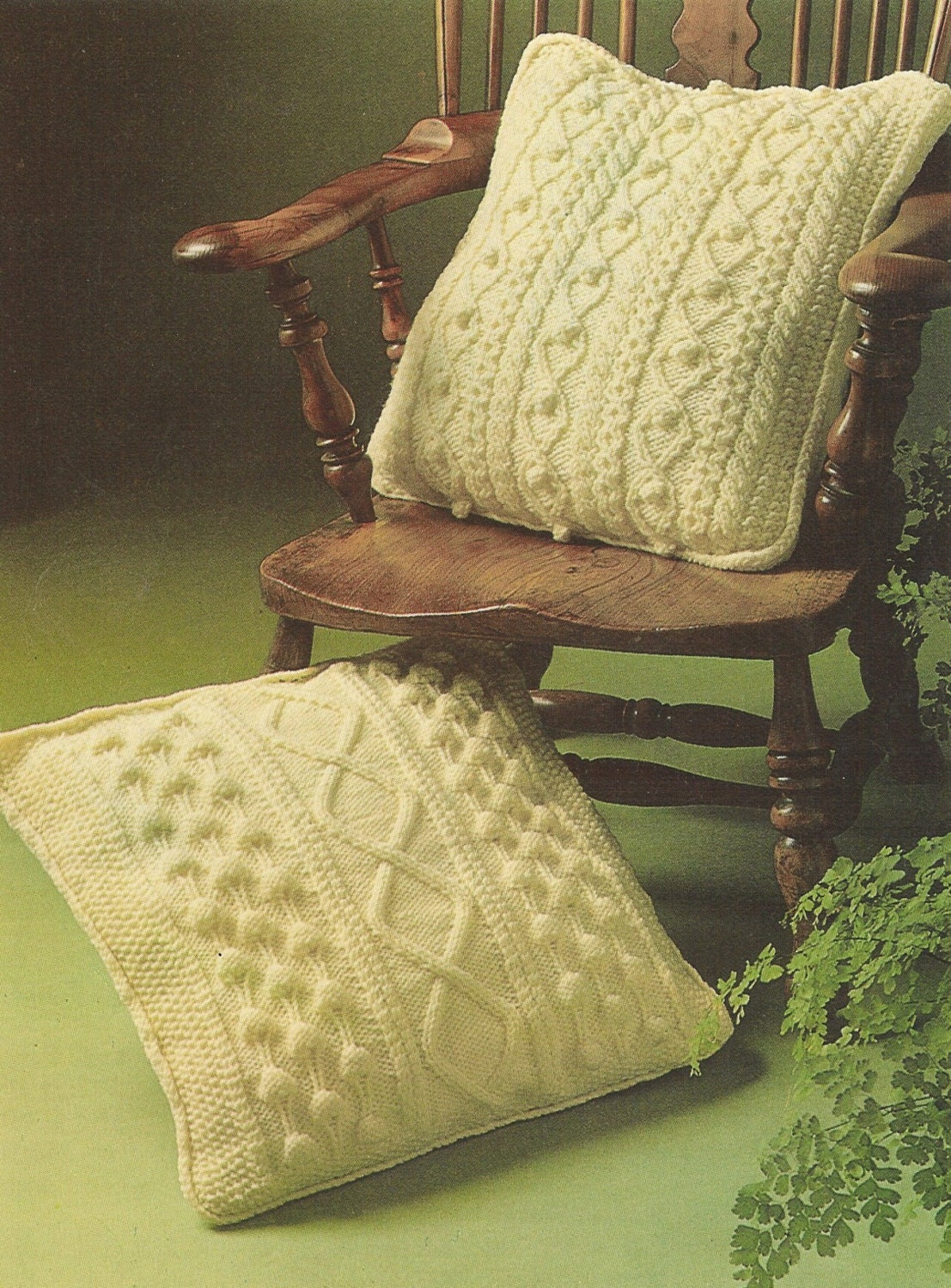 aran cushion covers vintage knitting pattern PDF by Ellisadine