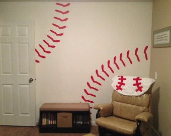 Baseball Stitches Wall Decal Red Removable 2083